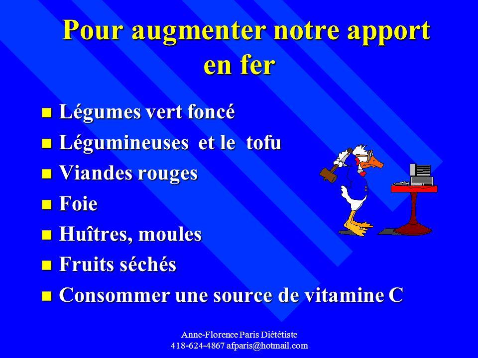 Anne-Florence Paris Diététiste 418-624-4867 afparis@hotmail.com Pour augmenter notre apport en fer Pour augmenter notre apport en fer n Légumes vert f