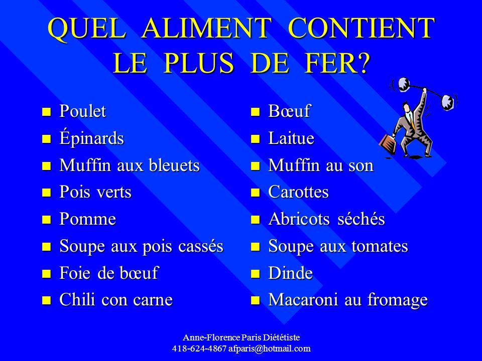 Anne-Florence Paris Diététiste 418-624-4867 afparis@hotmail.com QUEL ALIMENT CONTIENT LE PLUS DE FER? n Poulet n Épinards n Muffin aux bleuets n Pois