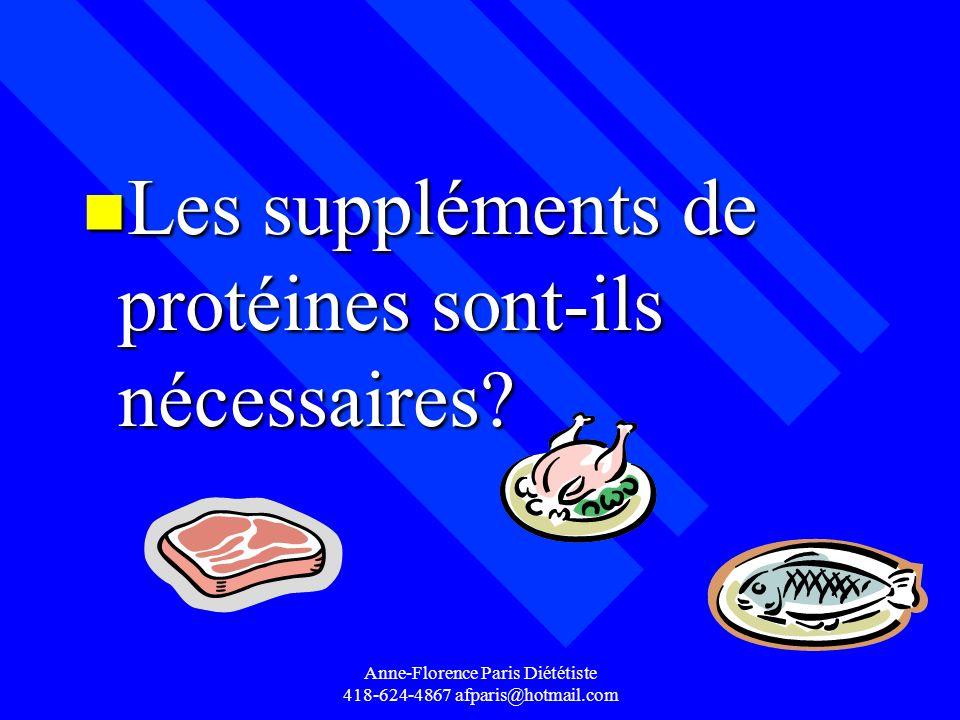 Anne-Florence Paris Diététiste 418-624-4867 afparis@hotmail.com n Les suppléments de protéines sont-ils nécessaires?