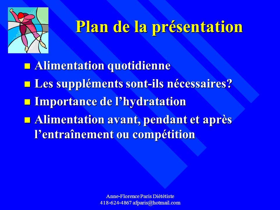 Anne-Florence Paris Diététiste 418-624-4867 afparis@hotmail.com Plan de la présentation Plan de la présentation n Alimentation quotidienne n Les suppl
