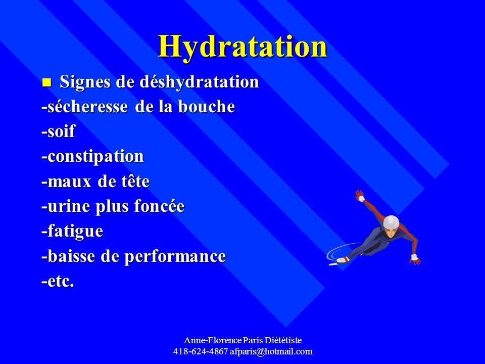 Anne-Florence Paris Diététiste 418-624-4867 afparis@hotmail.com Hydratation n Signes de déshydratation -sécheresse de la bouche -soif-constipation -ma