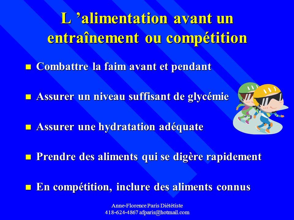 Anne-Florence Paris Diététiste 418-624-4867 afparis@hotmail.com L alimentation avant un entraînement ou compétition n Combattre la faim avant et penda