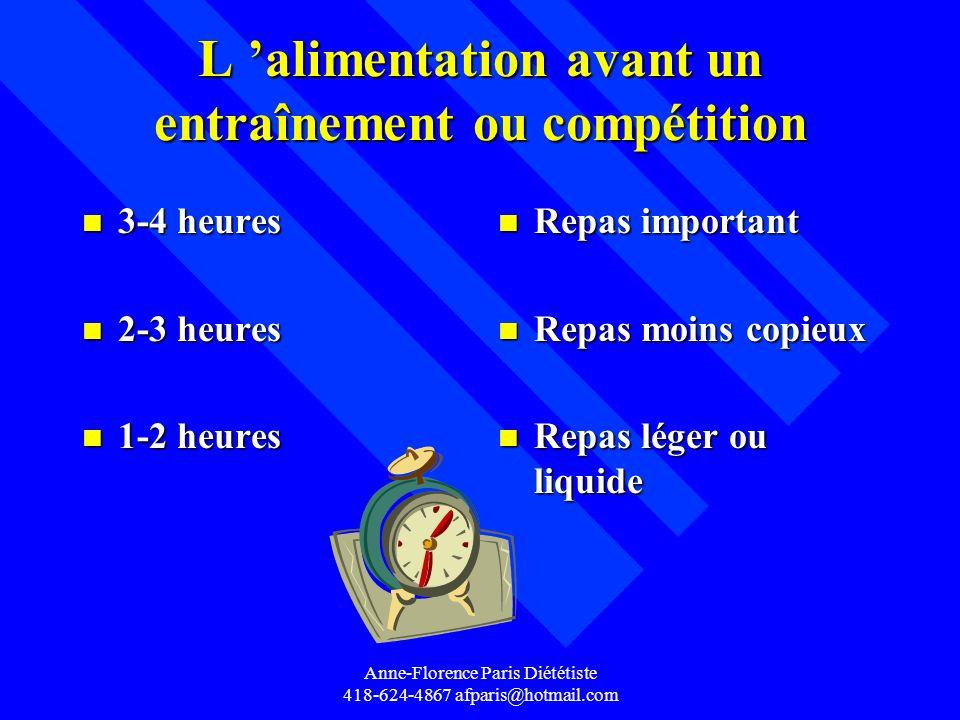 Anne-Florence Paris Diététiste 418-624-4867 afparis@hotmail.com L alimentation avant un entraînement ou compétition n 3-4 heures n 2-3 heures n 1-2 he