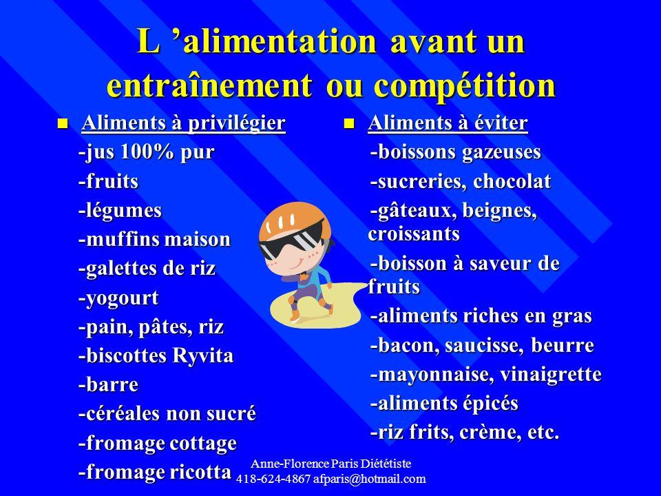 Anne-Florence Paris Diététiste 418-624-4867 afparis@hotmail.com L alimentation avant un entraînement ou compétition n Aliments à privilégier -jus 100%