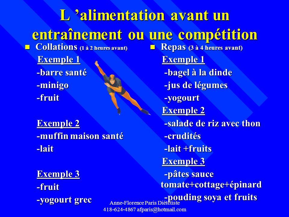 Anne-Florence Paris Diététiste 418-624-4867 afparis@hotmail.com L alimentation avant un entraînement ou une compétition n Collations (1 à 2 heures ava