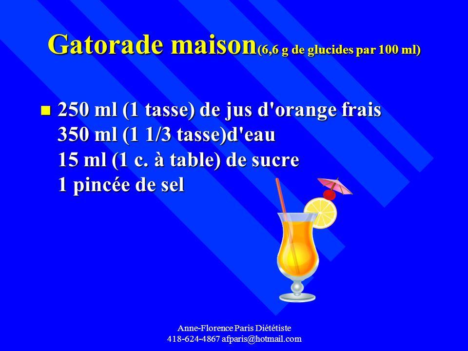 Anne-Florence Paris Diététiste 418-624-4867 afparis@hotmail.com Gatorade maison (6,6 g de glucides par 100 ml) n 250 ml (1 tasse) de jus d'orange frai