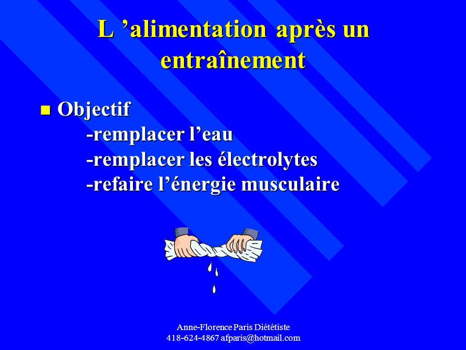 Anne-Florence Paris Diététiste 418-624-4867 afparis@hotmail.com L alimentation après un entraînement n Objectif -remplacer leau -remplacer les électro
