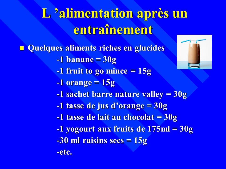 L alimentation après un entraînement L alimentation après un entraînement n Quelques aliments riches en glucides -1 banane = 30g -1 banane = 30g -1 fr