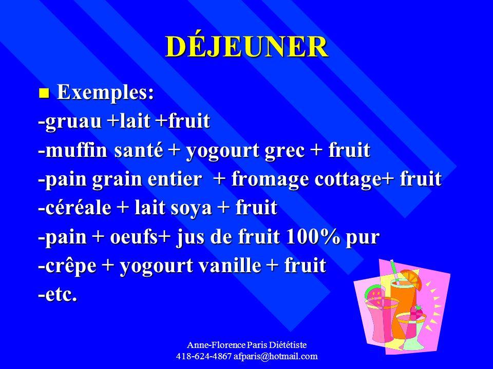 DÉJEUNER n Exemples: -gruau +lait +fruit -muffin santé + yogourt grec + fruit -pain grain entier + fromage cottage+ fruit -céréale + lait soya + fruit