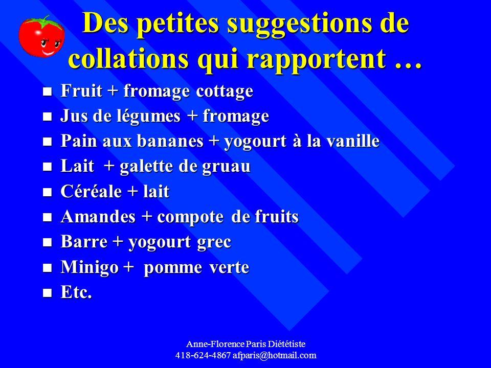 Anne-Florence Paris Diététiste 418-624-4867 afparis@hotmail.com Des petites suggestions de collations qui rapportent … n Fruit + fromage cottage n Jus