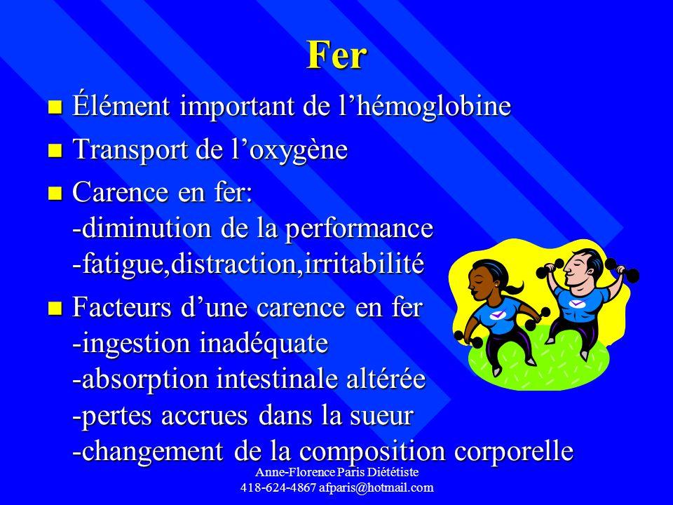 Anne-Florence Paris Diététiste 418-624-4867 afparis@hotmail.com Fer n Élément important de lhémoglobine n Transport de loxygène n Carence en fer: -dim