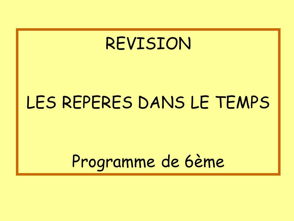 REVISION LES REPERES DANS LE TEMPS Programme de 6ème
