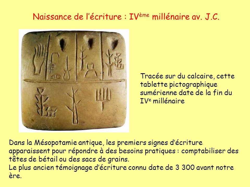 Naissance de lécriture : IV ème millénaire av. J.C. Dans la Mésopotamie antique, les premiers signes décriture apparaissent pour répondre à des besoin
