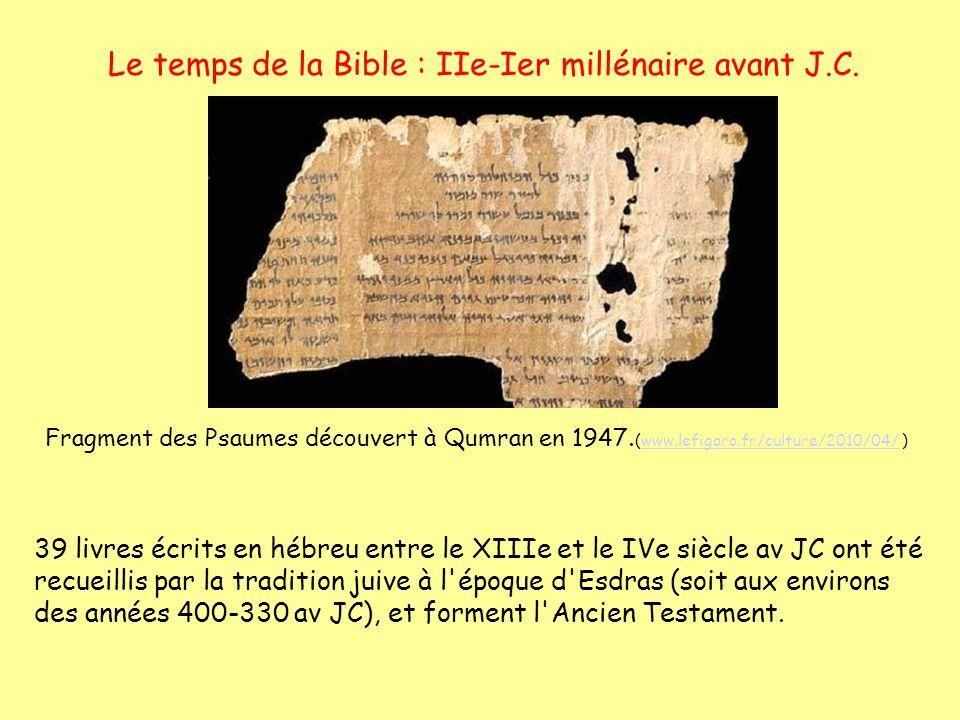 Le temps de la Bible : IIe-Ier millénaire avant J.C. 39 livres écrits en hébreu entre le XIIIe et le IVe siècle av JC ont été recueillis par la tradit