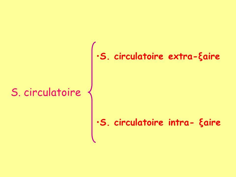 S. circulatoire S. circulatoire extra-ξaire S. circulatoire intra- ξaire