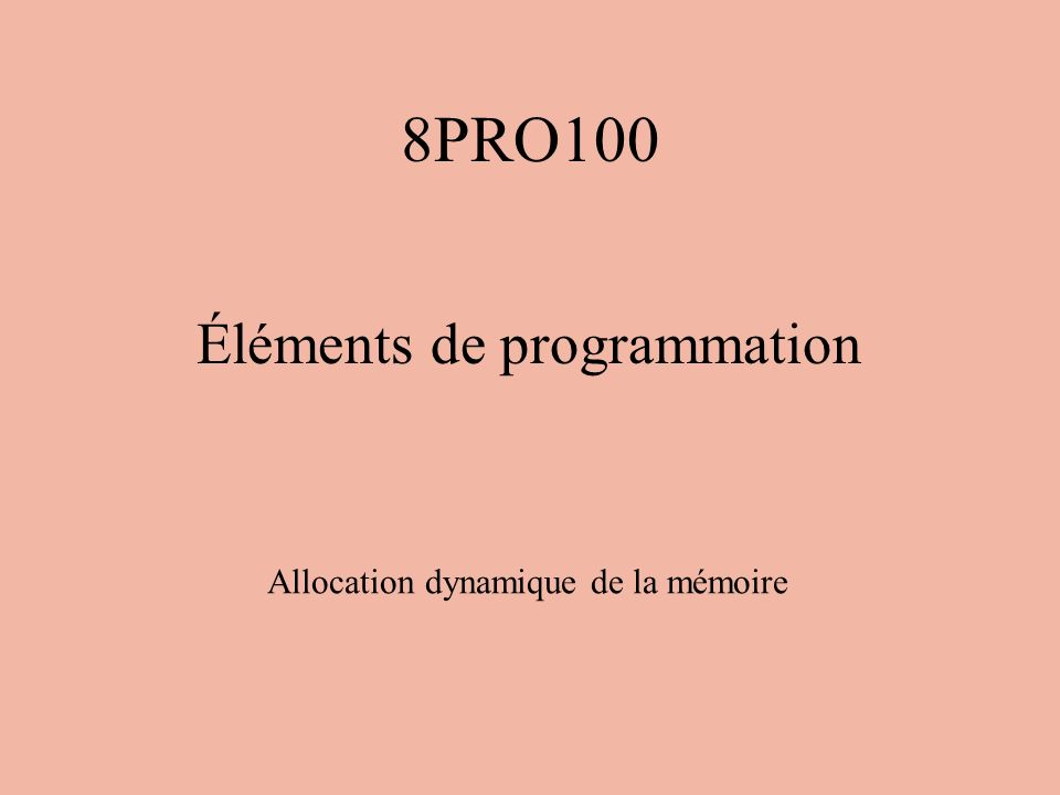 Exemple 4 int *p; struct complexe *cplx; p = (int *) malloc(sizeof(int)); cplx = (struct complexe *) malloc(sizeof(struct complexe));