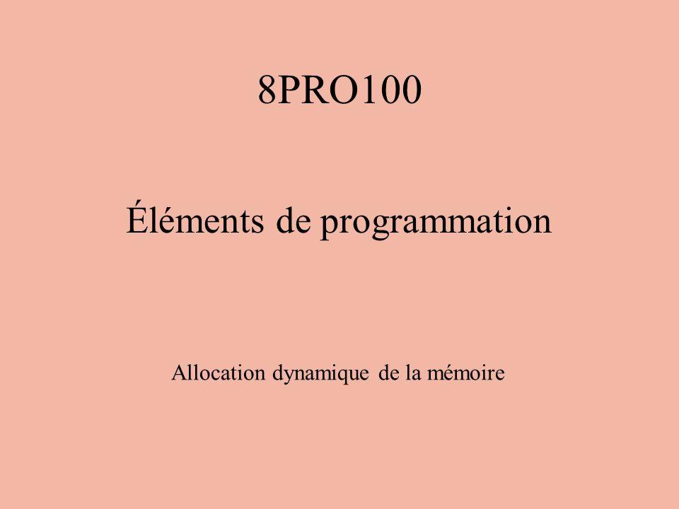 Allocation statique et dynamique Jusquà maintenant, toutes la mémoire que nous avons utilisée dans nos programmes devait être allouée avant l exécution à laide des déclarations de variables.