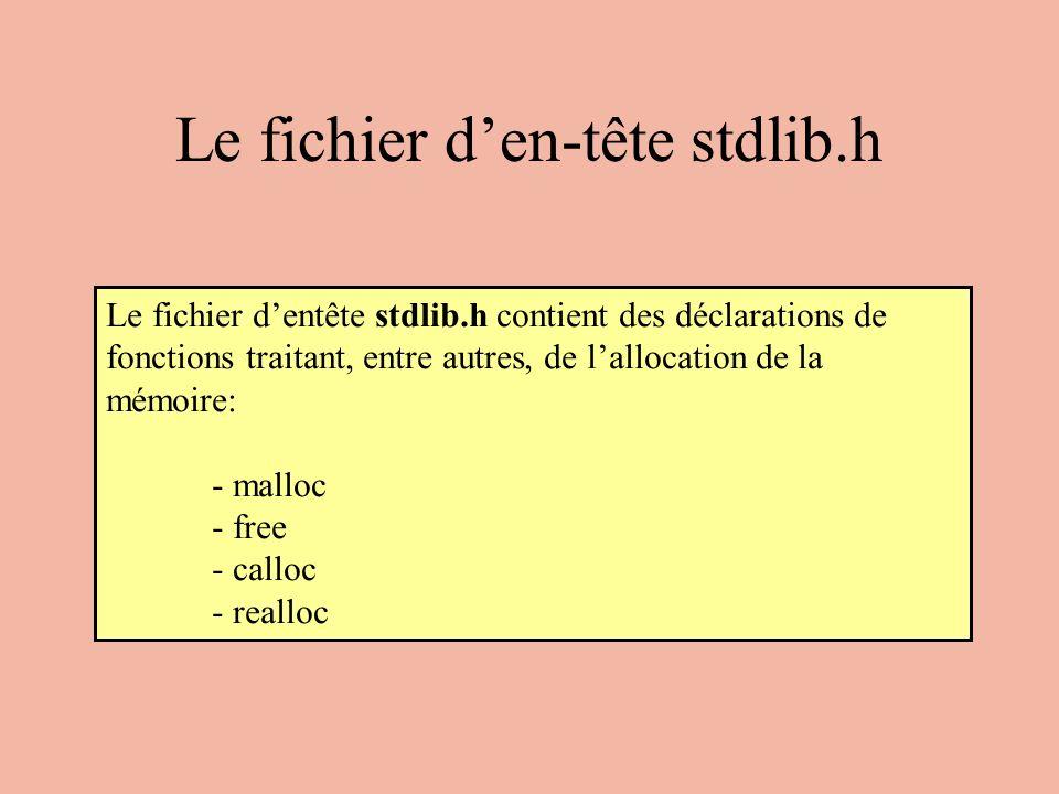 Le fichier den-tête stdlib.h Le fichier dentête stdlib.h contient des déclarations de fonctions traitant, entre autres, de lallocation de la mémoire: