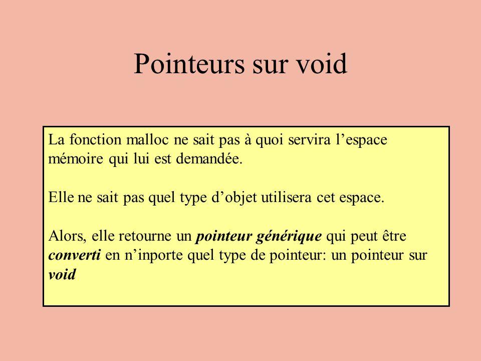 Exemple 6 chaine = (maillon*) malloc(sizeof(maillon)); chaine -> valeur = 8; chaine: 8 p: