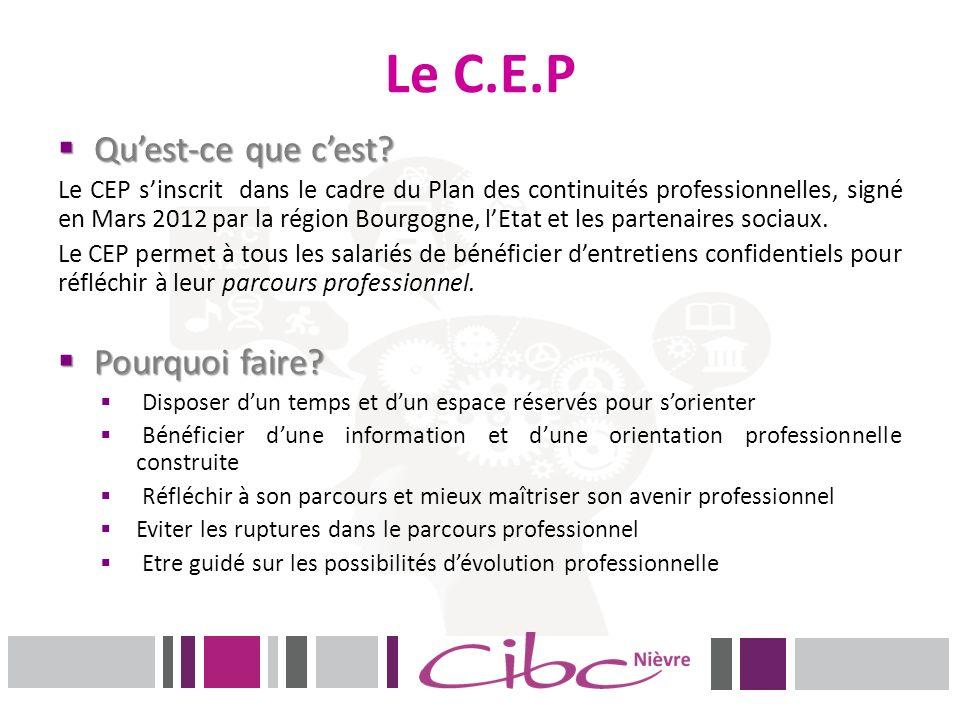 Le C.E.P Quest-ce que cest? Quest-ce que cest? Le CEP sinscrit dans le cadre du Plan des continuités professionnelles, signé en Mars 2012 par la régio