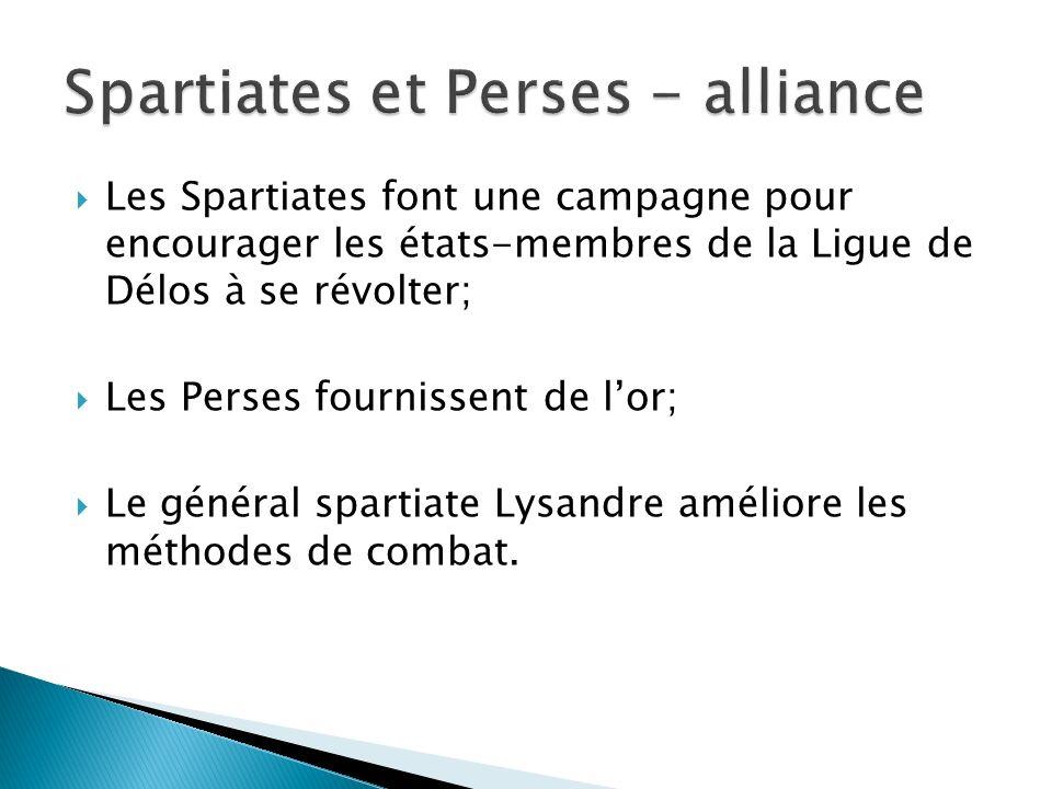 Les Spartiates font une campagne pour encourager les états-membres de la Ligue de Délos à se révolter; Les Perses fournissent de lor; Le général spartiate Lysandre améliore les méthodes de combat.