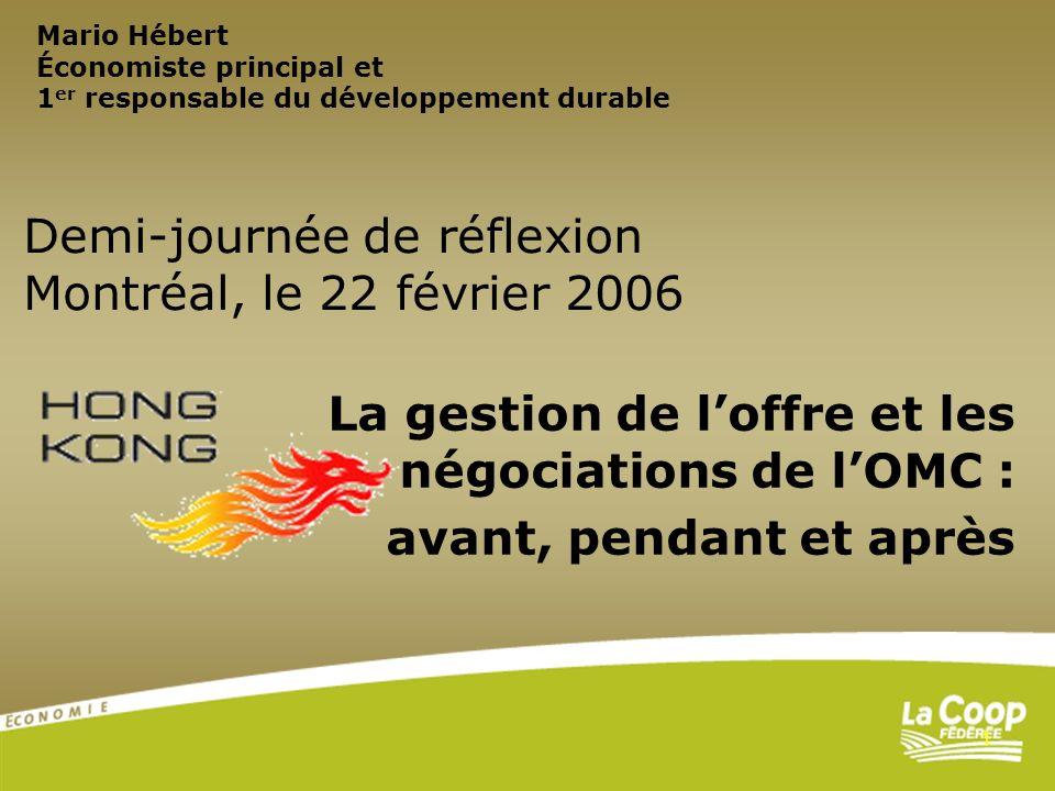 1 La gestion de loffre et les négociations de lOMC : avant, pendant et après Demi-journée de réflexion Montréal, le 22 février 2006 Mario Hébert Écono