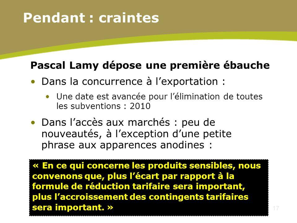 17 Pascal Lamy dépose une première ébauche Dans la concurrence à lexportation : Une date est avancée pour lélimination de toutes les subventions : 201