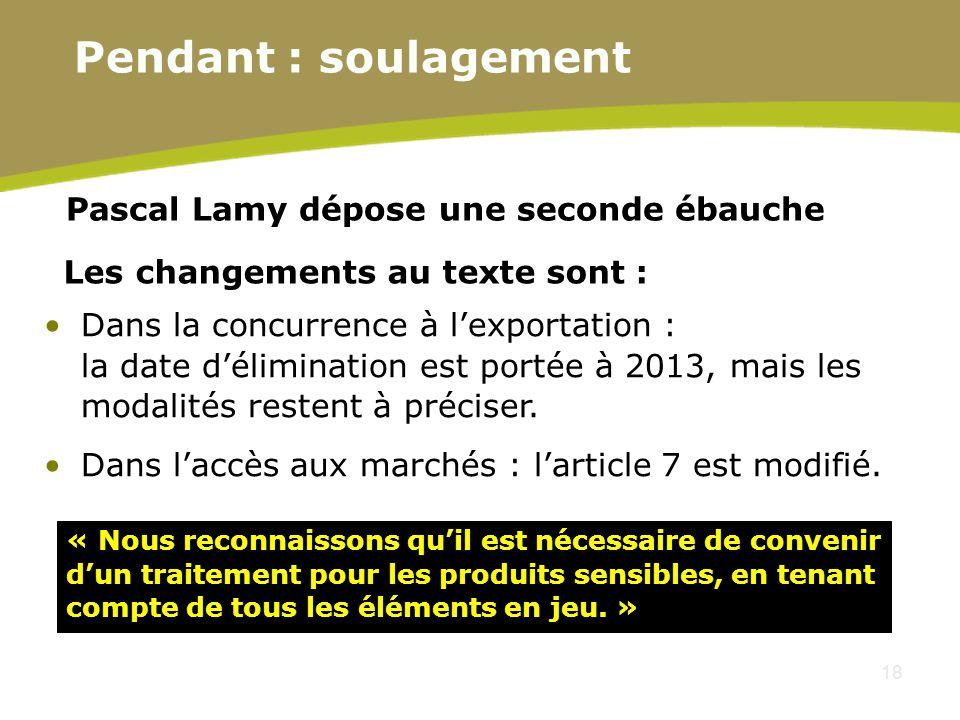 18 Pascal Lamy dépose une seconde ébauche Les changements au texte sont : Dans la concurrence à lexportation : la date délimination est portée à 2013,