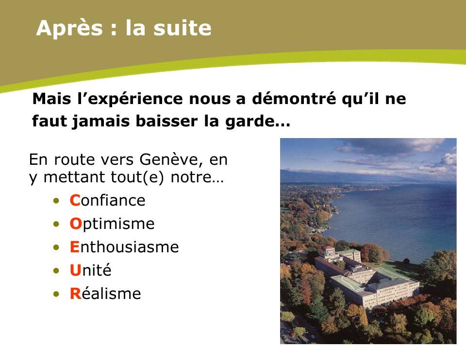 22 Mais lexpérience nous a démontré quil ne faut jamais baisser la garde… En route vers Genève, en y mettant tout (e) notre… Confiance Optimisme Entho