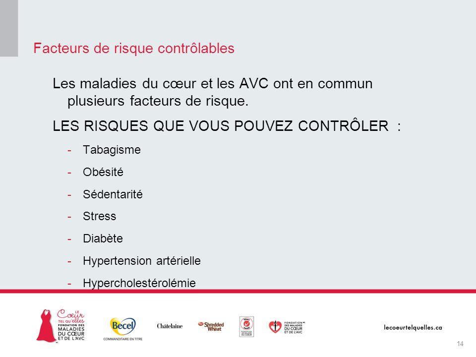 Les maladies du cœur et les AVC ont en commun plusieurs facteurs de risque. LES RISQUES QUE VOUS POUVEZ CONTRÔLER : -Tabagisme -Obésité -Sédentarité -