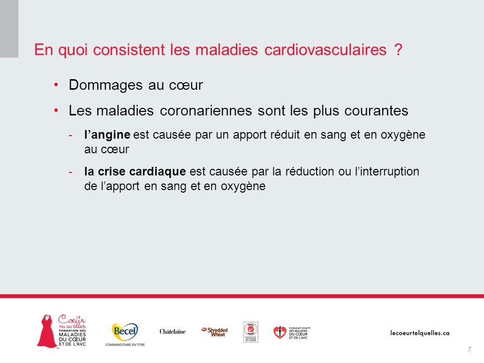 Dommages au cœur Les maladies coronariennes sont les plus courantes -langine est causée par un apport réduit en sang et en oxygène au cœur -la crise c