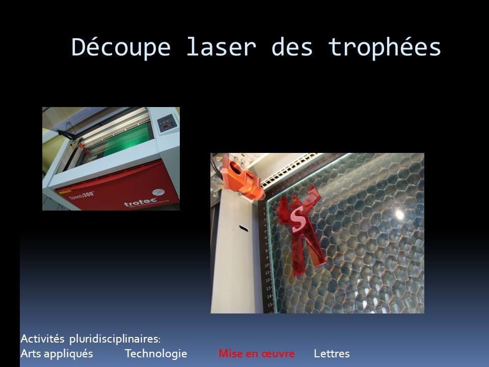 Découpe laser des trophées Activités pluridisciplinaires: Arts appliqués Technologie Mise en œuvre Lettres