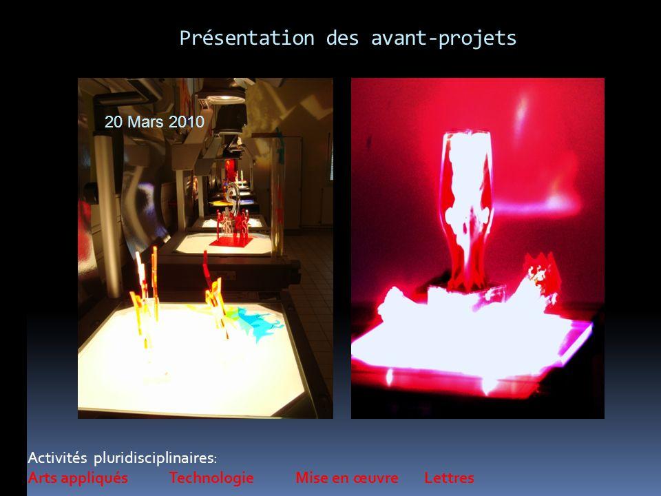 Présentation des avant-projets Activités pluridisciplinaires: Arts appliqués Technologie Mise en œuvre Lettres 20 Mars 2010