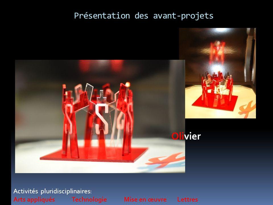 Activités pluridisciplinaires: Arts appliqués Technologie Mise en œuvre Lettres Olivier Présentation des avant-projets