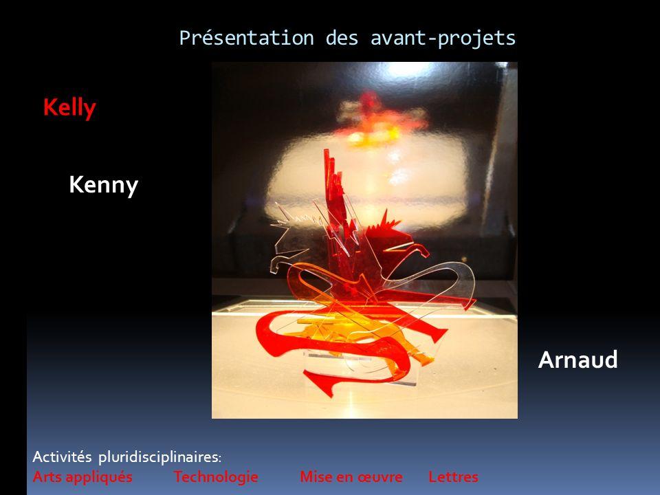 Activités pluridisciplinaires: Arts appliqués Technologie Mise en œuvre Lettres Kelly Kenny Arnaud Présentation des avant-projets