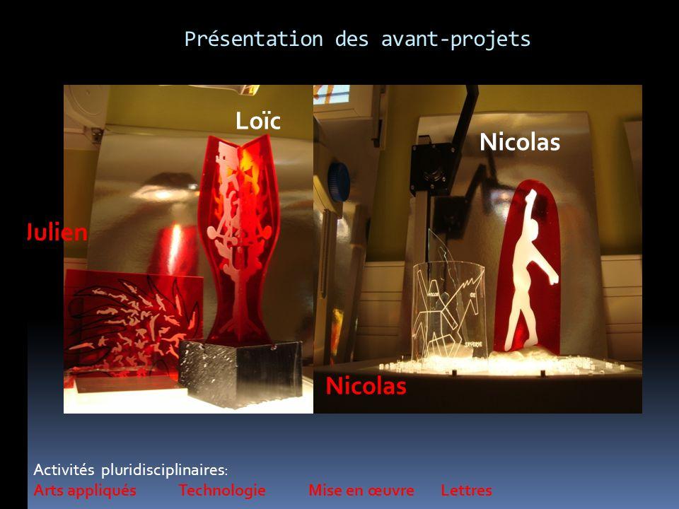 Activités pluridisciplinaires: Arts appliqués Technologie Mise en œuvre Lettres Loïc Julien Nicolas Présentation des avant-projets