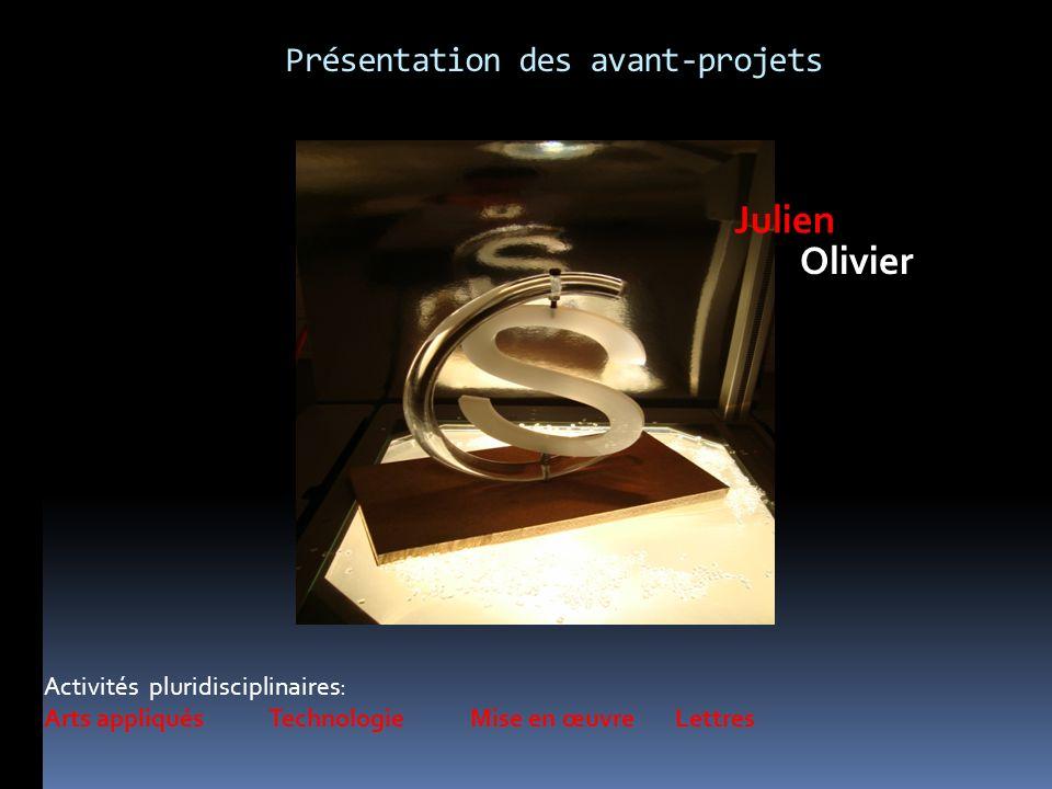 Activités pluridisciplinaires: Arts appliqués Technologie Mise en œuvre Lettres Julien Olivier Présentation des avant-projets