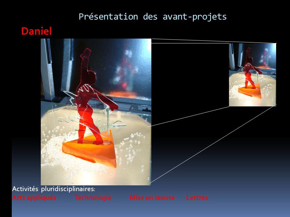 Activités pluridisciplinaires: Arts appliqués Technologie Mise en œuvre Lettres Daniel Présentation des avant-projets