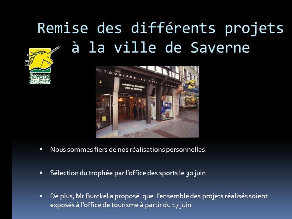 Remise des différents projets à la ville de Saverne Nous sommes fiers de nos réalisations personnelles. Sélection du trophée par loffice des sports le