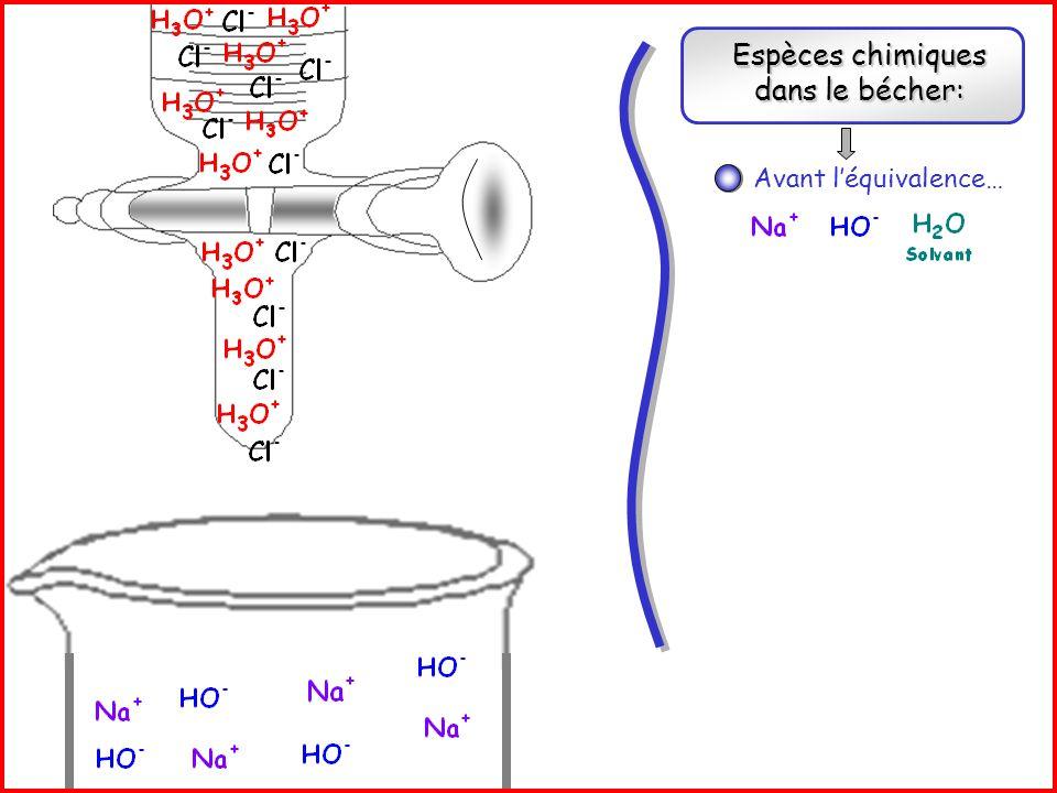 Espèces chimiques dans le bécher: Réaction support de titrage: + Avant léquivalence… Réaction support de titrage: +