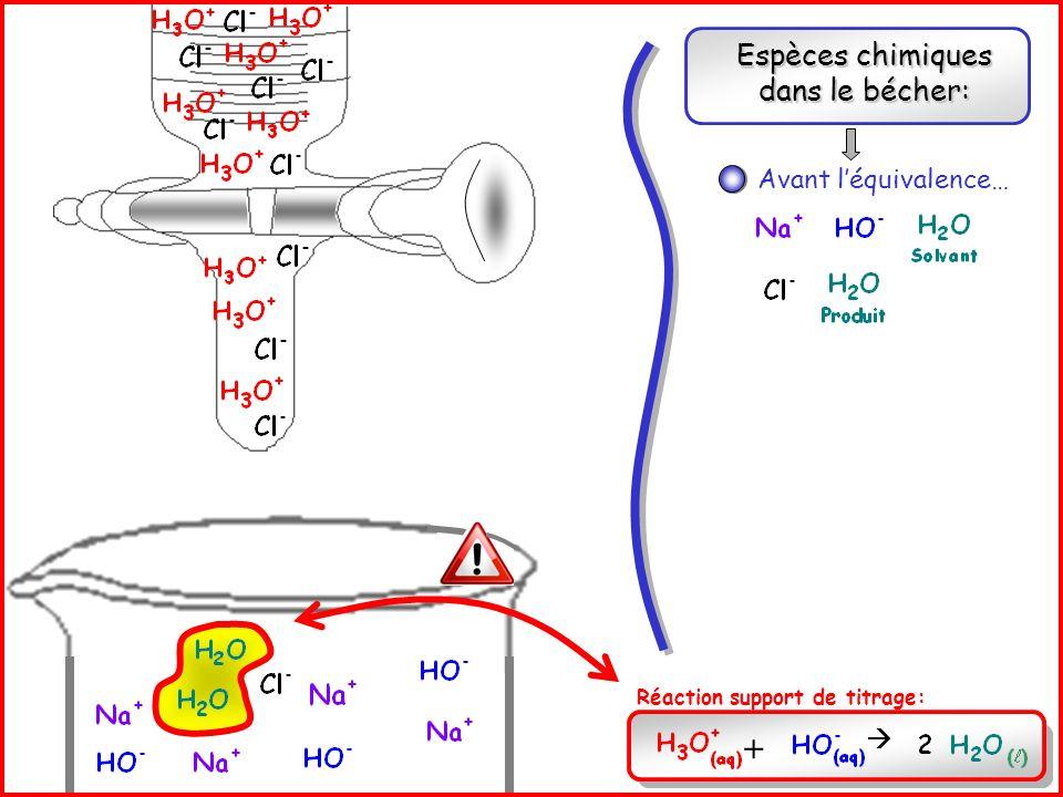 Espèces chimiques dans le bécher: Avant léquivalence… Réaction support de titrage: +