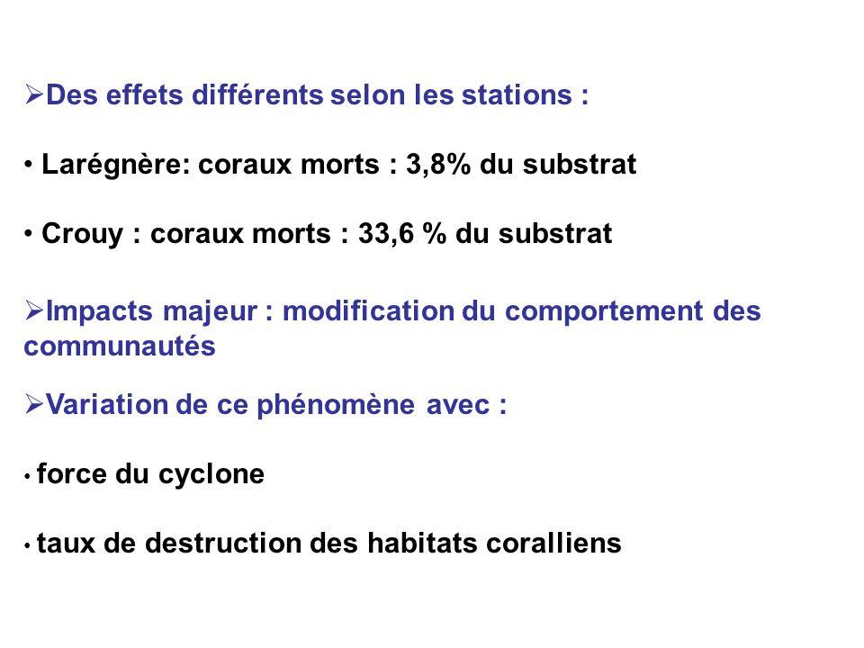 AvantJuste après 20 mois après Toutes les espèces Richesse spécifique totale Biomasse (g/m 2 ) Densité (individus/m 2 ) 109 217,19 83,56 84 96,19 91,54 80 40,82 39,84 Scaridae Richesse spécifique totale Biomasse (g/m 2 ) Densité (individus/m 2 ) 18 16,39 11,22 17 14,52 42,23 14 5,66 8,85 Corail vivant (% couverture) (branchu, tubulaire et foliaire ) 23,515,39,8 Impacts à moyen terme (20 mois après) Variations du total de richesse spécifique, de la densité et de la biomasse des communautés de poissons et variations des habitats benthiques caractéristiques.