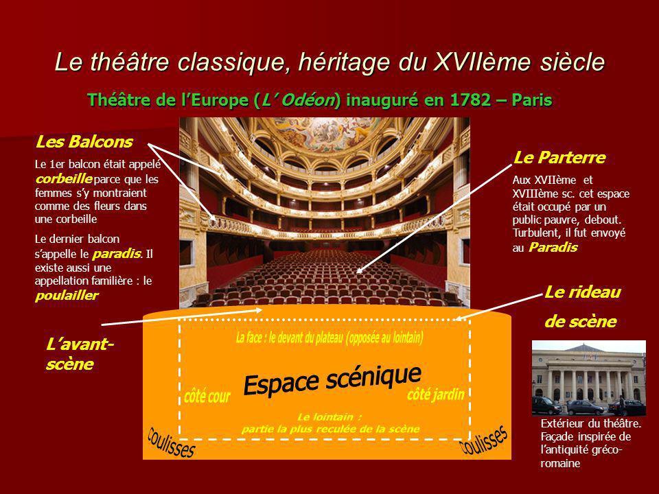 Le théâtre classique, héritage du XVIIème siècle Théâtre de lEurope (L Odéon) inauguré en 1782 – Paris Les Balcons Le 1er balcon était appelé corbeille parce que les femmes sy montraient comme des fleurs dans une corbeille Le dernier balcon sappelle le paradis.
