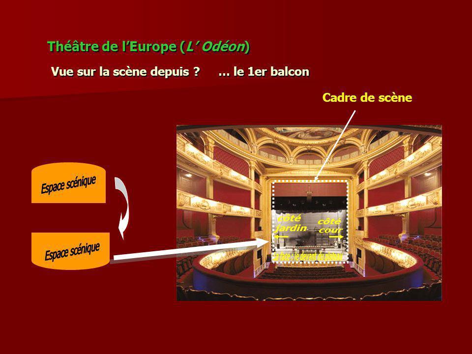 Théâtre de lEurope (L Odéon) Vue sur la scène depuis ? Cadre de scène … le 1er balcon