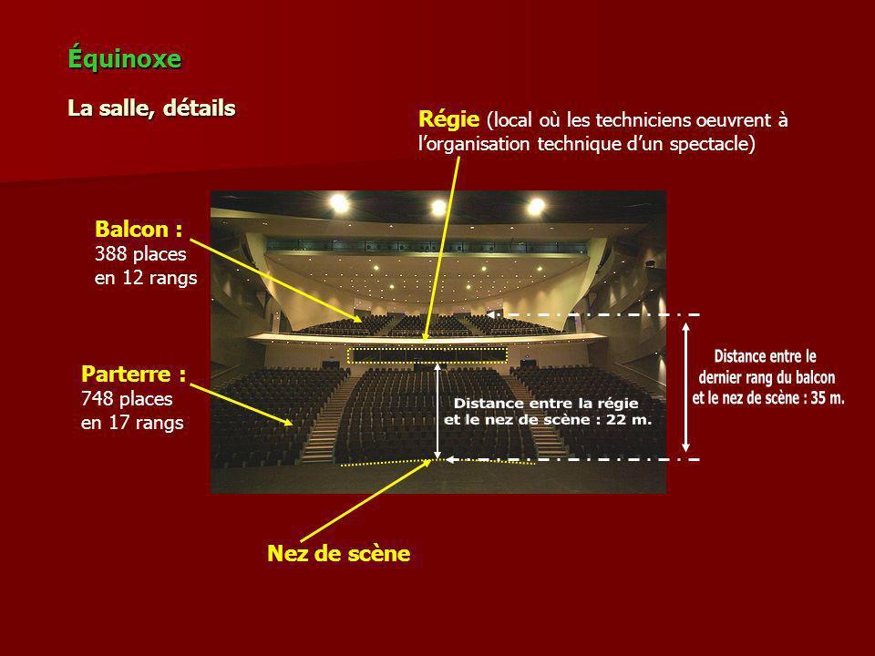 La salle, détails Équinoxe Balcon : 388 places en 12 rangs Parterre : 748 places en 17 rangs Régie (local où les techniciens oeuvrent à lorganisation technique dun spectacle) Nez de scène