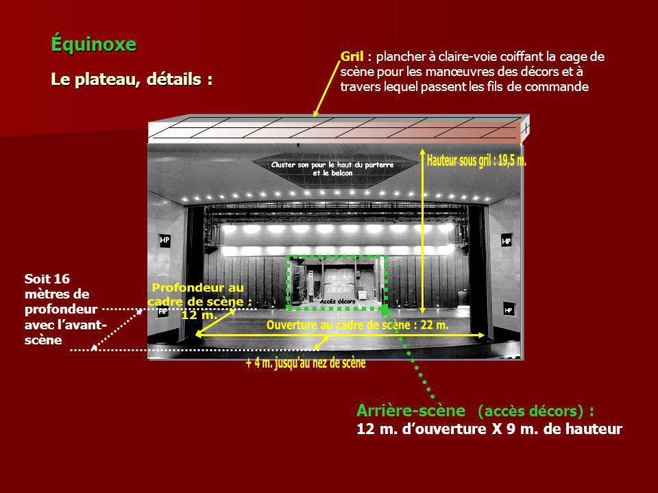 Gril : plancher à claire-voie coiffant la cage de scène pour les manœuvres des décors et à travers lequel passent les fils de commande Équinoxe Le pla