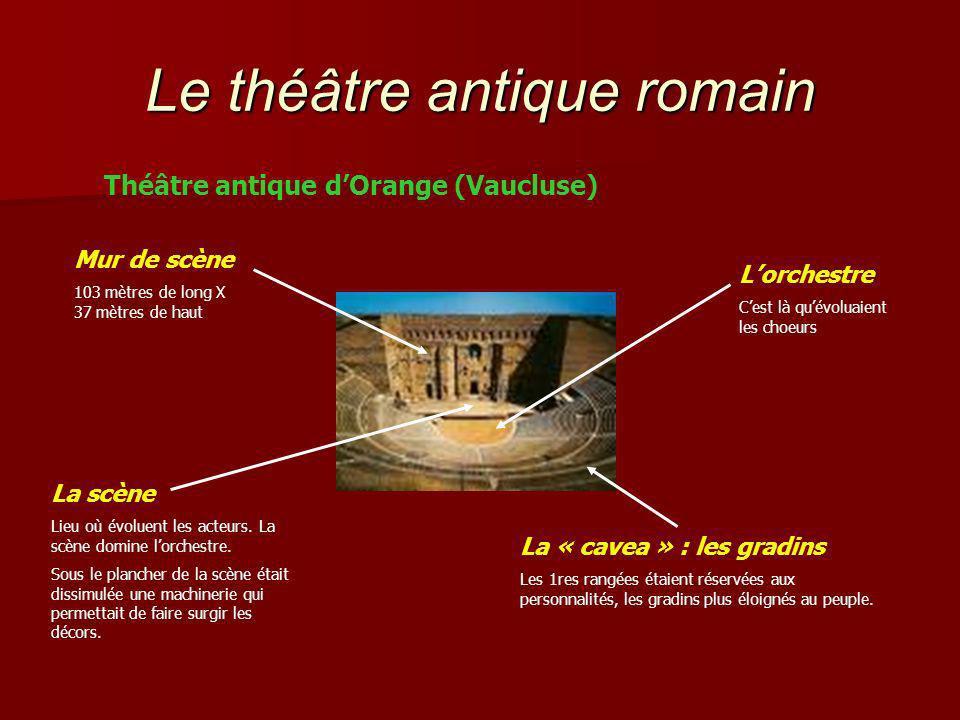 Le théâtre antique romain Théâtre antique dOrange (Vaucluse) Mur de scène 103 mètres de long X 37 mètres de haut Lorchestre Cest là quévoluaient les choeurs La scène Lieu où évoluent les acteurs.
