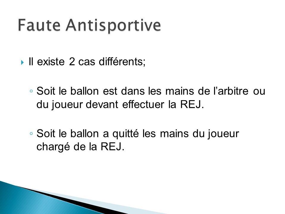 Il existe 2 cas différents; Soit le ballon est dans les mains de larbitre ou du joueur devant effectuer la REJ.