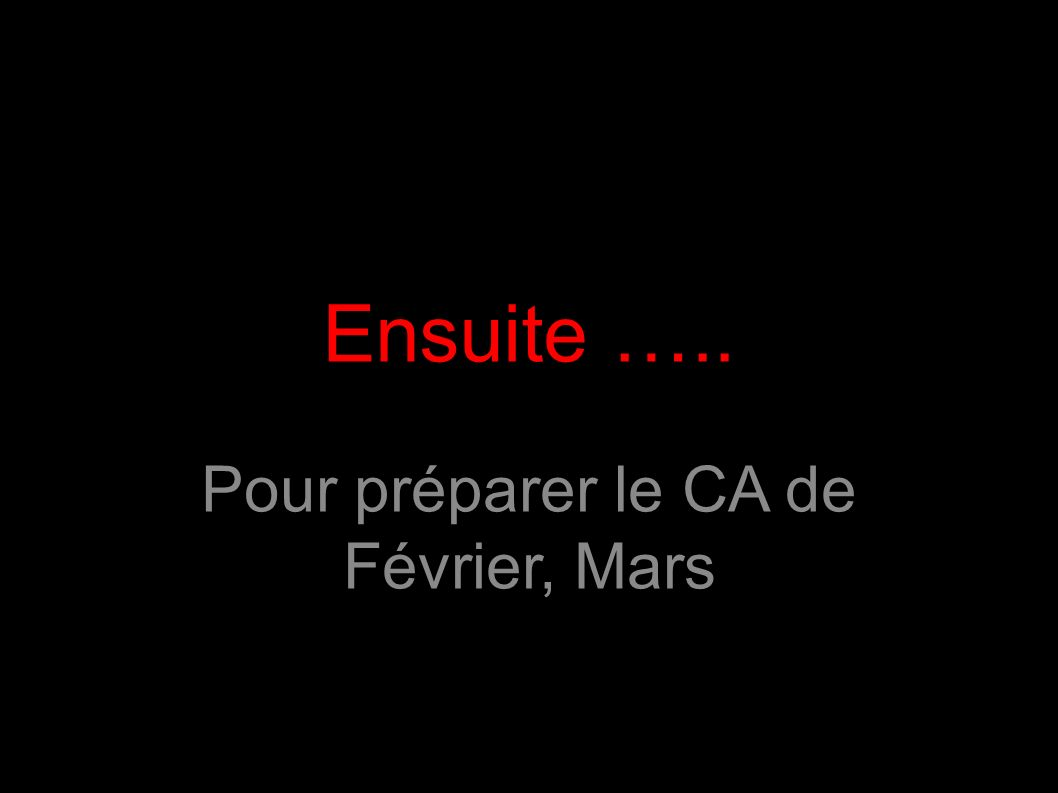 Ensuite ….. Pour préparer le CA de Février, Mars