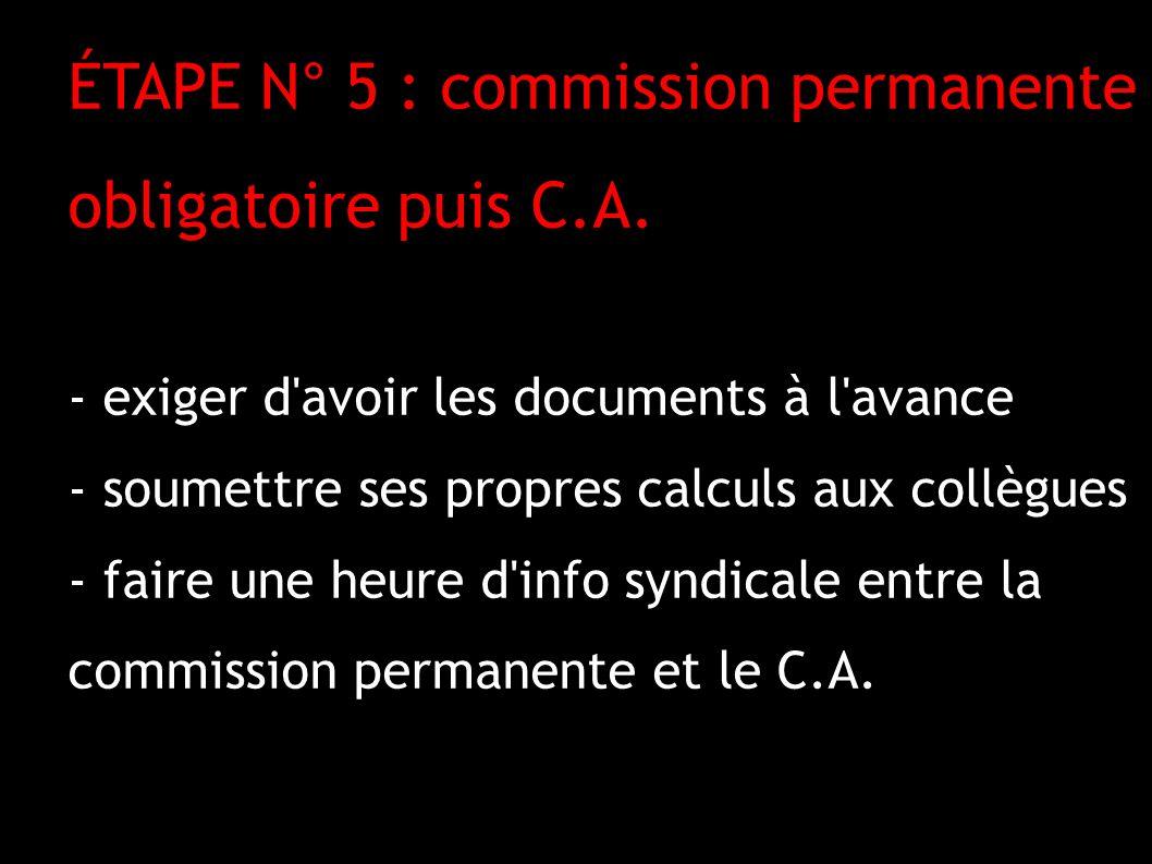 ÉTAPE N° 5 : commission permanente obligatoire puis C.A.
